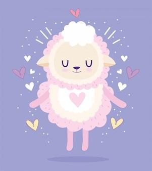 Baby shower, cute sheep animal hearts lovely cartoon