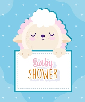 Baby shower cute sheep animal holding banner vector illustration