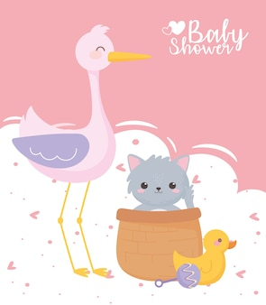 Baby shower, cute stork cat duck and rattle toys, celebration welcome newborn