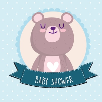 Baby shower, cute teddy bear animal badge vector illustration