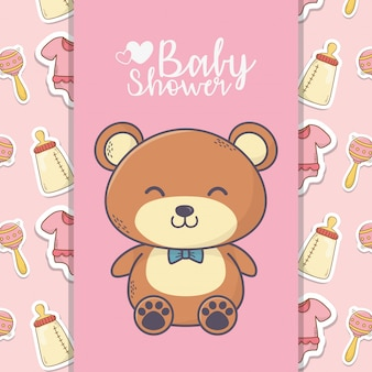 Baby shower cute teddy bear toy bottle rattle banner background