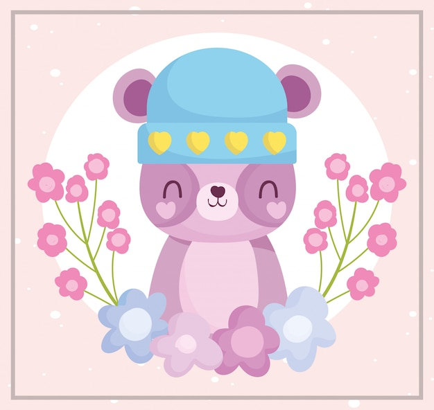Baby shower, cute teddy bear with hat and flowers decoration cartoon, announce newborn welcome card