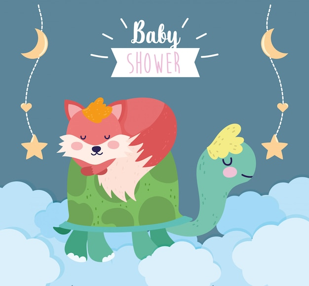 Baby shower cute turtle and sleeping fox clouds cartoon greeting card