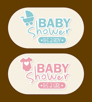Baby shower design over brown background vector illustration