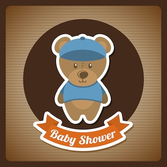 Baby shower design over brown background