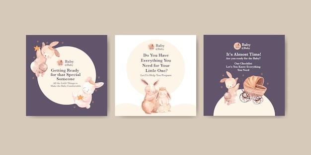 Baby shower design card watercolor  illustration