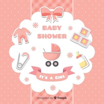 Baby shower design for girl Free Vector