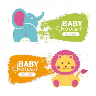 Baby shower design over white background vector illustration