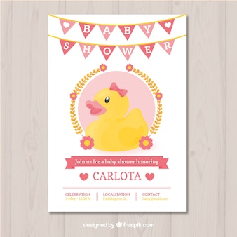 Baby shower design with duck