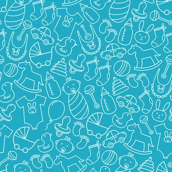 Baby shower doodle seamless pattern.