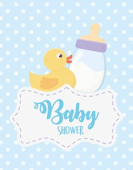 Baby shower, duck toy and milk bottle dotted blue baackground celebration event
