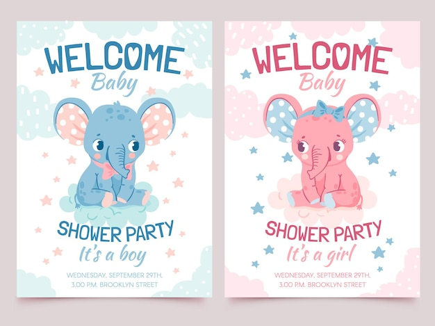 Baby shower elephant. invitation card for newborn boy and girl party with elephants on cloud. welcome kid banner with cute animal vector set. celebrating happy event, birth of child