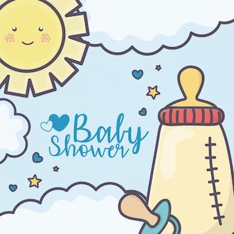 Baby shower feeding bottle pacifier clouds sun stars