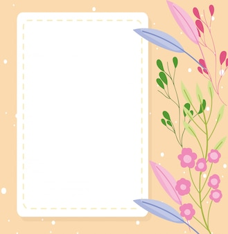 Baby shower, flowers decoration announce newborn welcome template card