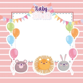 Baby shower, funny lion rabbit and bear faces balloons card vector illustration