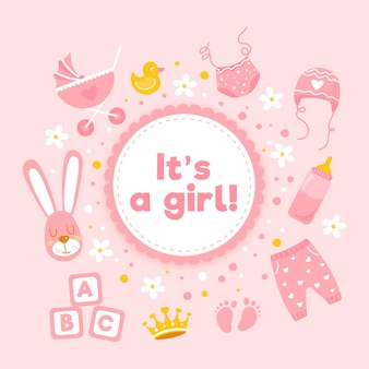 Baby shower girl background with toys