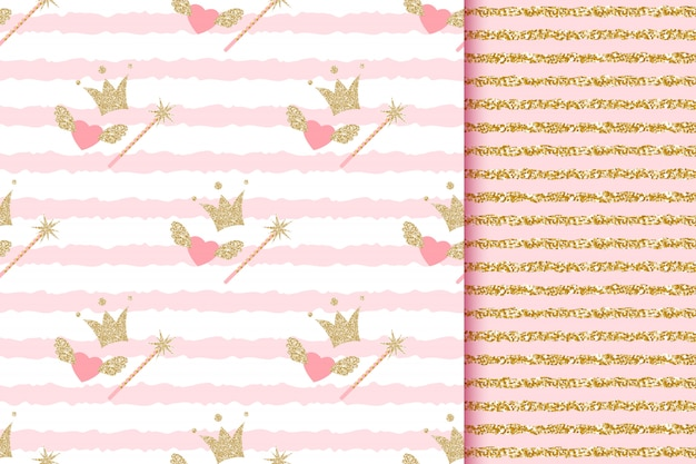 Baby shower girl and boy princess and prince seamless patterns with gold glitter crowns, magic wand, angel hearts on pink striped