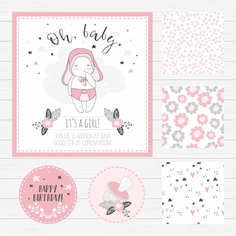 Baby shower girl card and seamless patterns