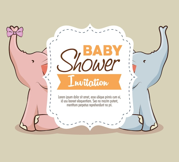 ベビーシャワー少女招待状
