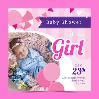 Baby shower girl invitation template with image