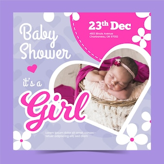 Baby shower girl invitation template with photo