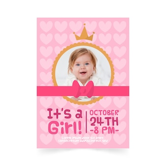 Baby shower girl invitation template with picture