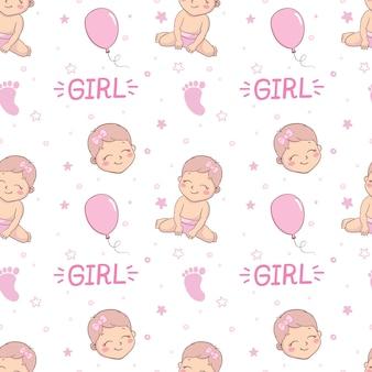 ベビーシャワーの女の子のシームレスなパターン。シームレスなパターンでピンクのパターンをベクトルします。