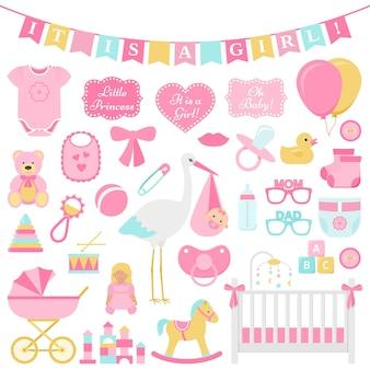 Baby душ девушка набор. векторная иллюстрация. розовые элементы для вечеринки.
