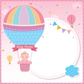 Baby shower girl with balloon template