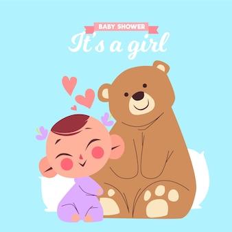 Детский душ (девочка) с медведем