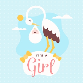 Baby shower (girl) with stork