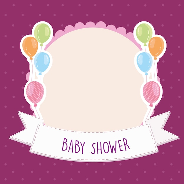 Baby shower greeting card balloons banner template vector illustration