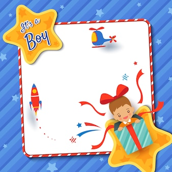Baby shower greeting card with a boy in present box on star frame blue background.