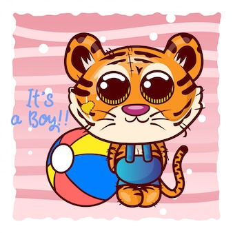 Baby shower greeting card with cute cartoon tiger boy - vector