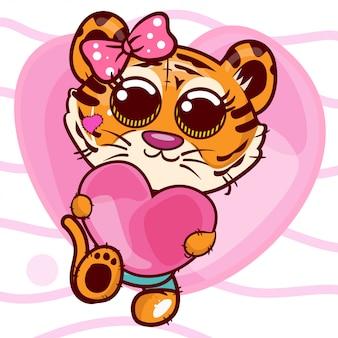 かわいい漫画タイガーガールとベビーシャワーのグリーティングカード - ベクトル