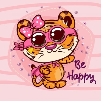 Baby shower greeting card with cute cartoon tiger girl - vector