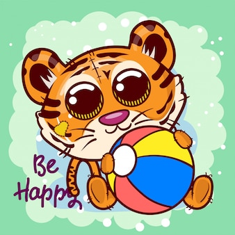 Baby shower greeting card with cute cartoon tiger - vector