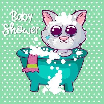 Baby shower greeting card with cute kitten boy cartoon