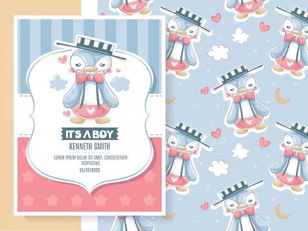 Baby shower greeting card with cute penguin