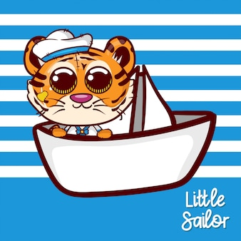 Baby shower greeting card with cute sailor tiger - vector