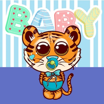 Baby shower greeting card with cute tiger cartoon - vector