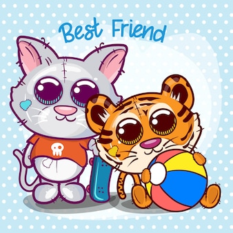 Baby shower greeting card with cute tiger and cat cartoon - vector