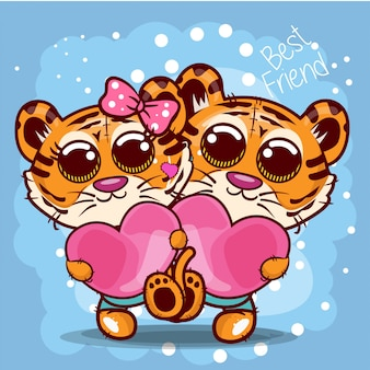 Baby shower greeting card with cute tigers cartoon - vector