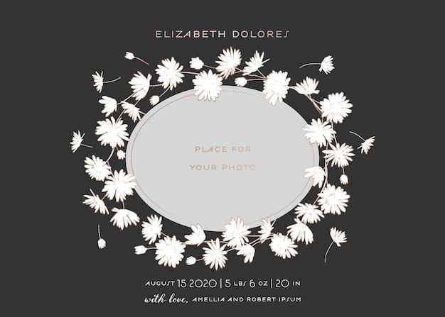 花のフレームが付いているベビーシャワーのグリーティングカード。赤ちゃんの写真と黄金の花のための場所と新生児のパーティの招待状のテンプレート。結婚式、日付カードを保存します。ベクトルイラスト
