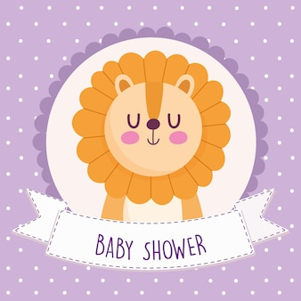 Baby shower greeting card with lion