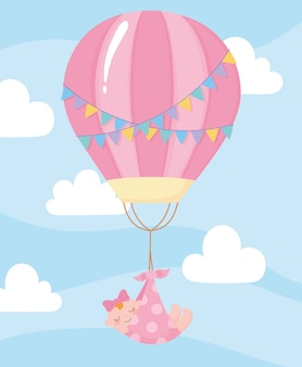 Baby shower, hanging little girl at hot air balloon cartoon, celebration welcome newborn