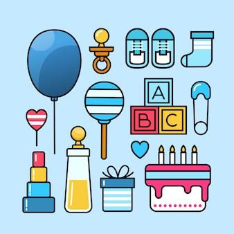 Baby shower icon set collection