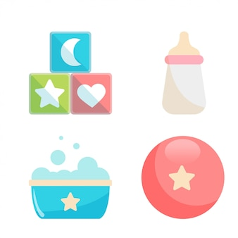 Baby shower icon set vector