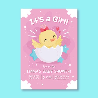 Baby shower illustrated invitation for baby girl