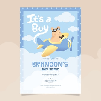Baby shower illustrated invitation template for baby boy